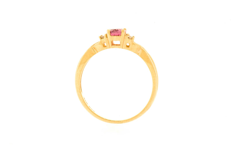 14K Yellow Gold Pink Tourmaline & Diamond Ring