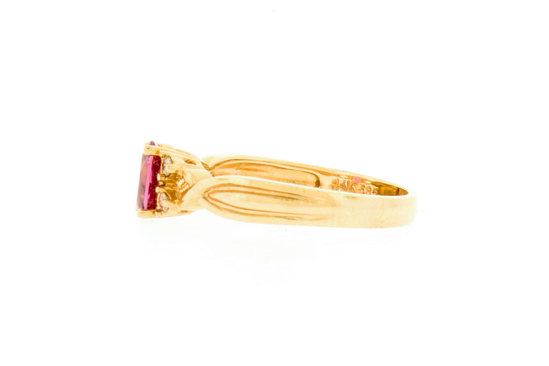 4 prong Pink Tourmaline & Diamond Ring
