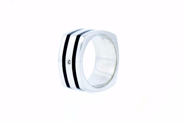Sterling Silver & Diamond Ring with Black Resin Inlay