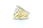14K White and Yellow Gold Cigar Ring with Squiggle Design