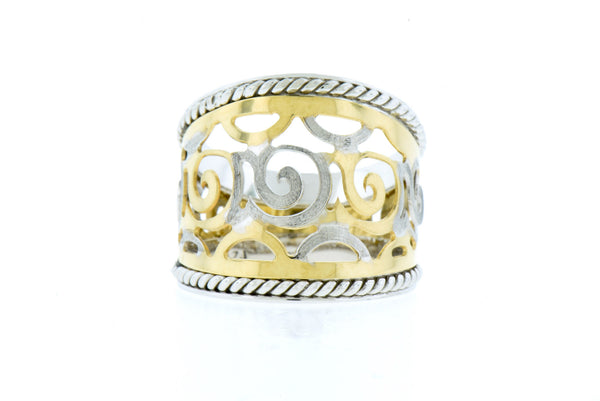 Scroll Design in 14K Yellow & White Gold