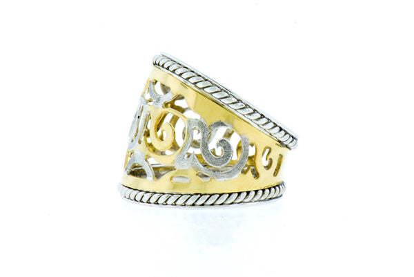 14K White & Yellow Gold Cigar Ring with Scroll Detail