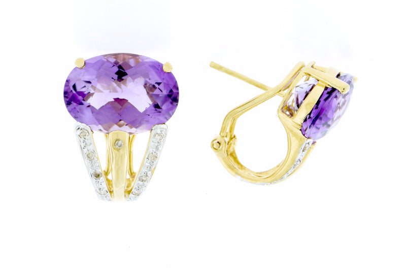 Diamond and Amethyst French Clip Earrings 14K Gold
