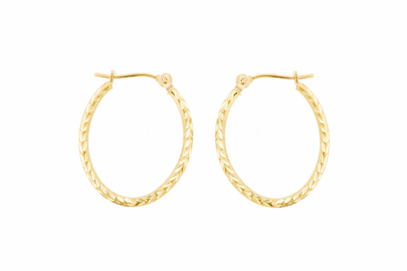 14K Yellow Gold Oval Hoops with Grecian Pattern