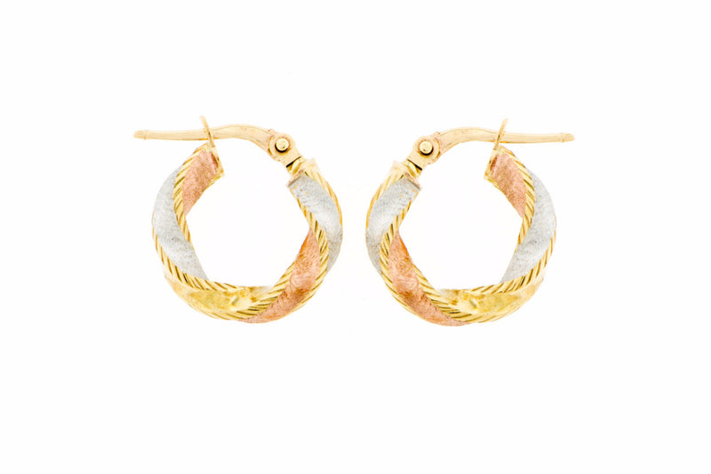Twisted 14K Tri-Color Hoop Earrings Small