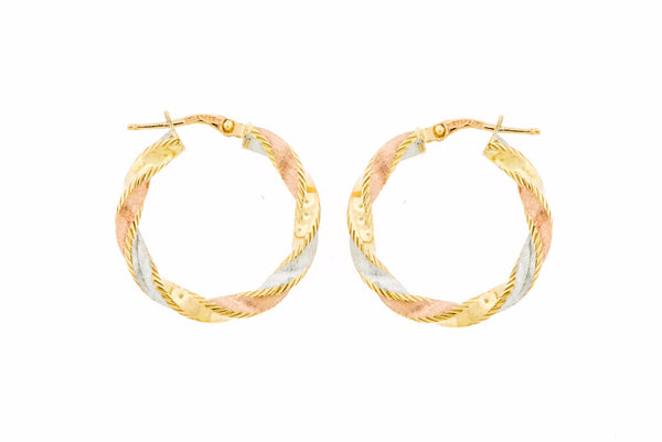 14K Tri-Color Gold Twisted Round Hoop Earrings