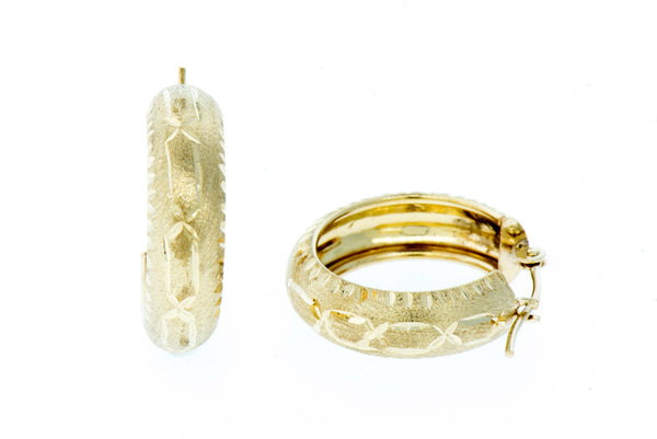 14K Gold Etched Round Hoop Earrings