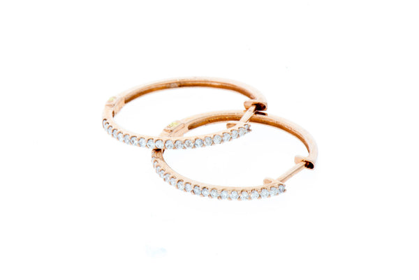 Diamond Hoop Earrings in Rose Gold