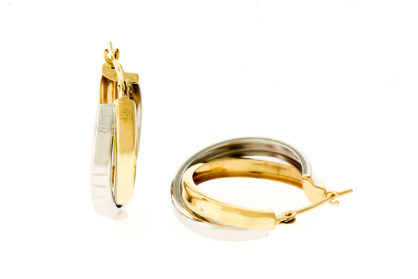 Double Hoop Earrings in White and Yellow 14K Gold