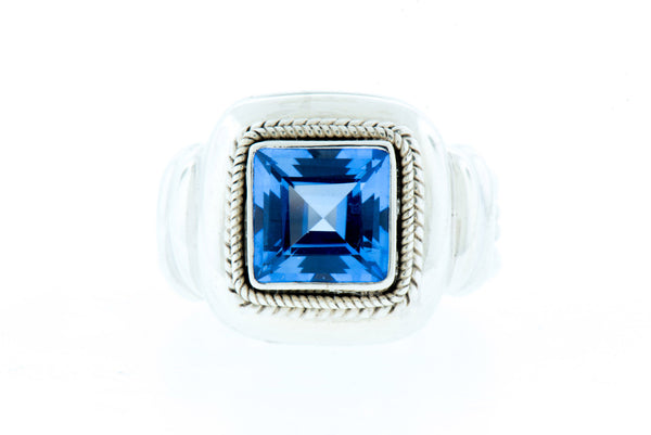Square Blue Quartz Sterling Silver Ring