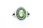 Faceted Oval Green Peridot Handcrafted Sterling Silver Ring