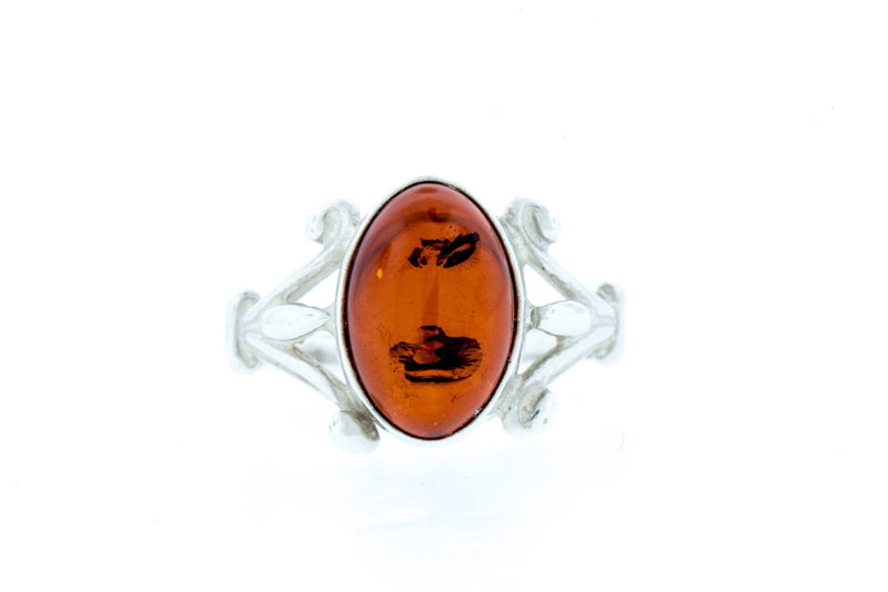 Amber Oval Sterling Silver Ring