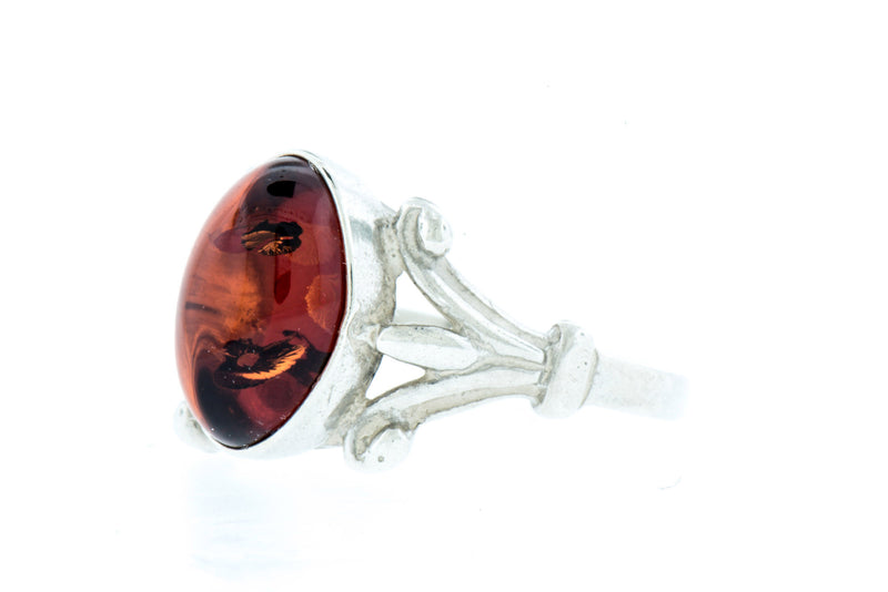 Oval Amber Ring Sterling Silver