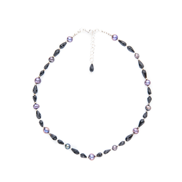 Black Onyx and Purple Pearl Necklace