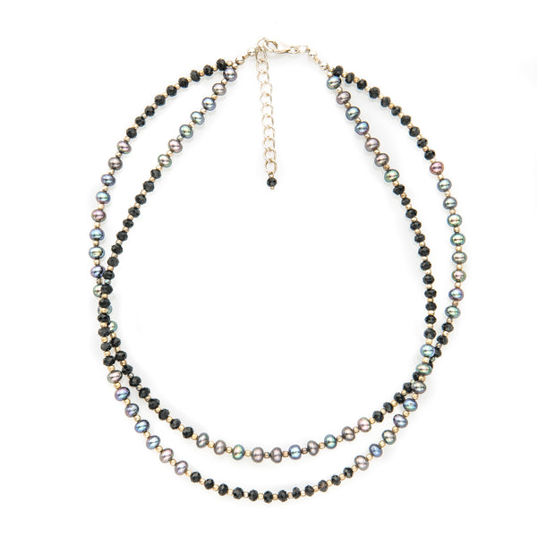 Iridescent Rainbow Pearl and Black Onyx Double Strand Necklace