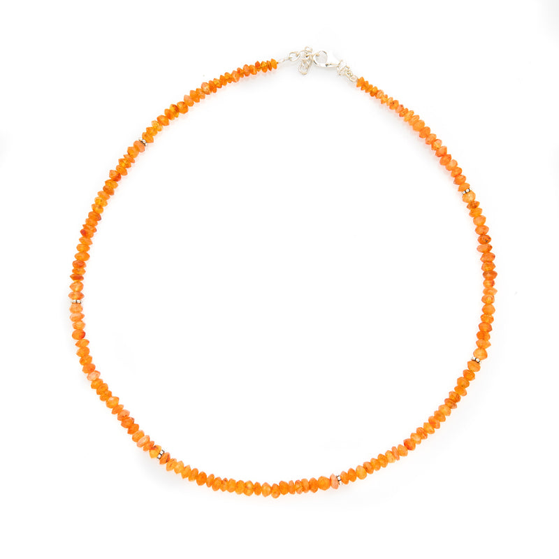 Bright Carnelian Gemstone Necklace with Sterling Silver