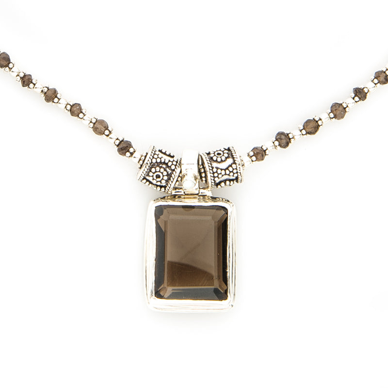 Smoky Brown Quartz Pendant Sterling Silver Necklace