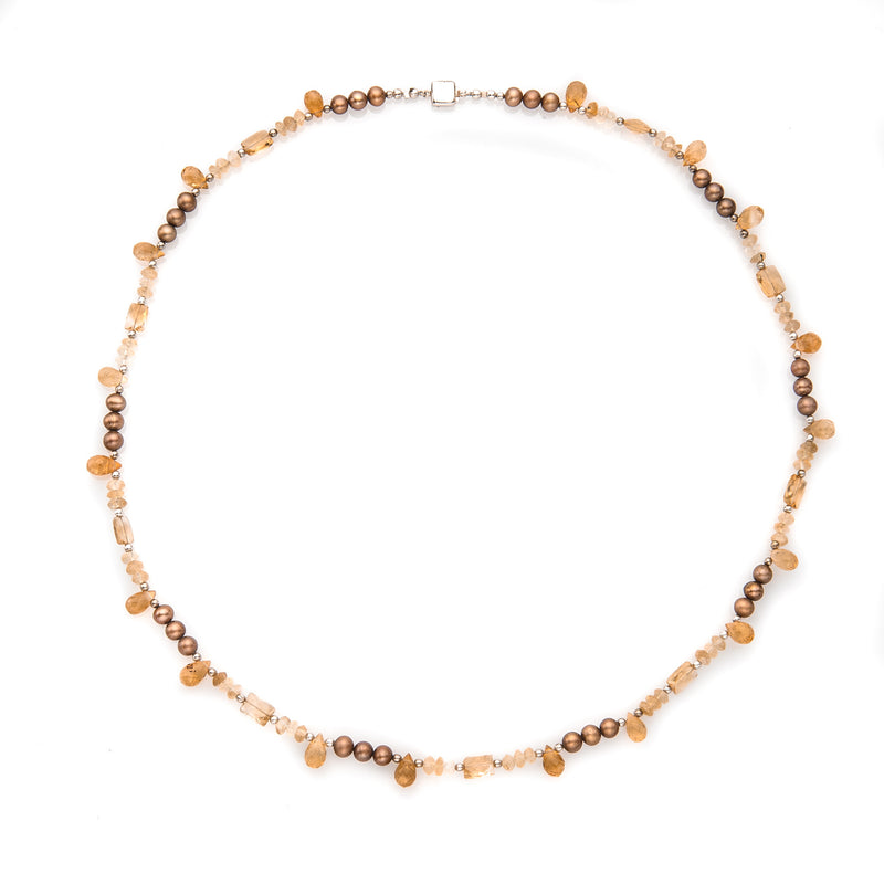 Autumn Colors Faceted Gemstone & Pearl Necklace