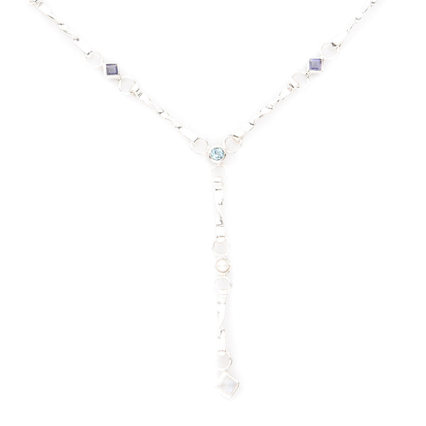 Iolite, Aquamarine, Moonstone, Pearl Sterling Silver Necklace