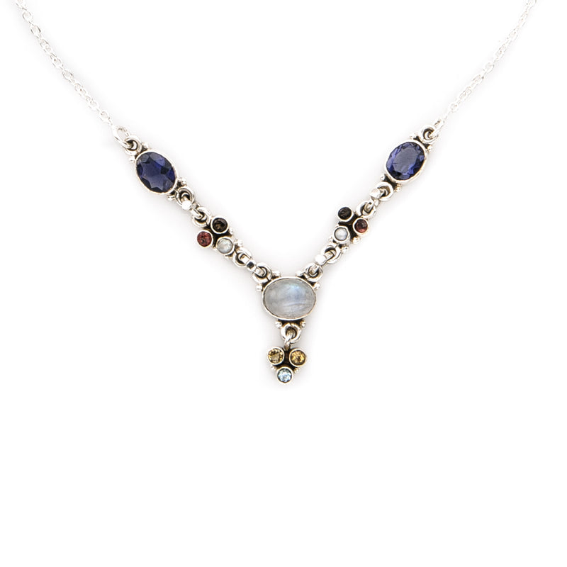 Moonstone and Multi Gemstone Necklace