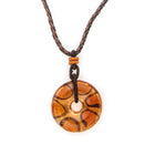 Orange Fused Glass & Twisted Cord Necklace