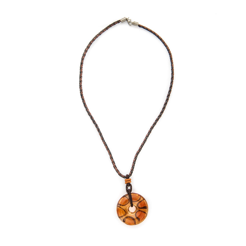 Orange Fused Glass Pendant Necklace