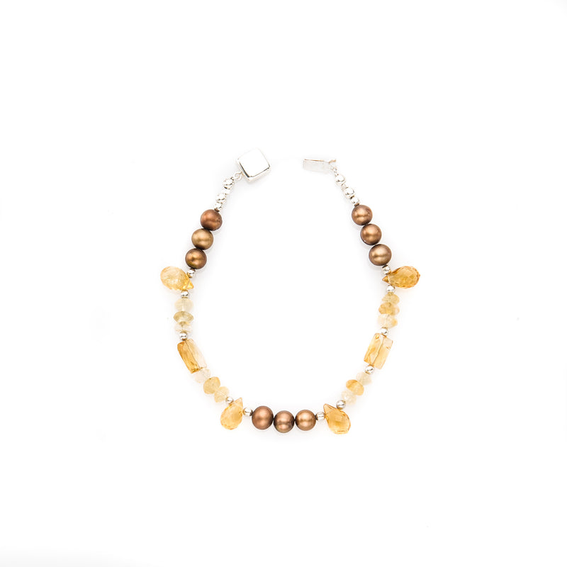 Brown Pearl & Citrine Bracelet