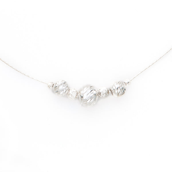 Designer Sterling Silver Chain Necklace with Beads