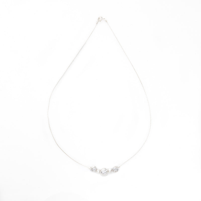 Diamond Cut Swirl Bead Sterling Silver Chain Necklace