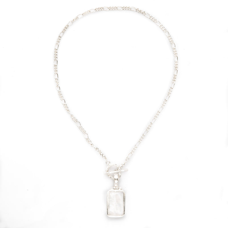 Moonstone Pendant Chain Necklace Designer Front Toggle