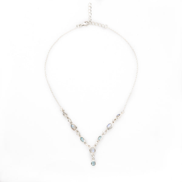 Moonstone & Aquamarine Sterling Silver Necklace