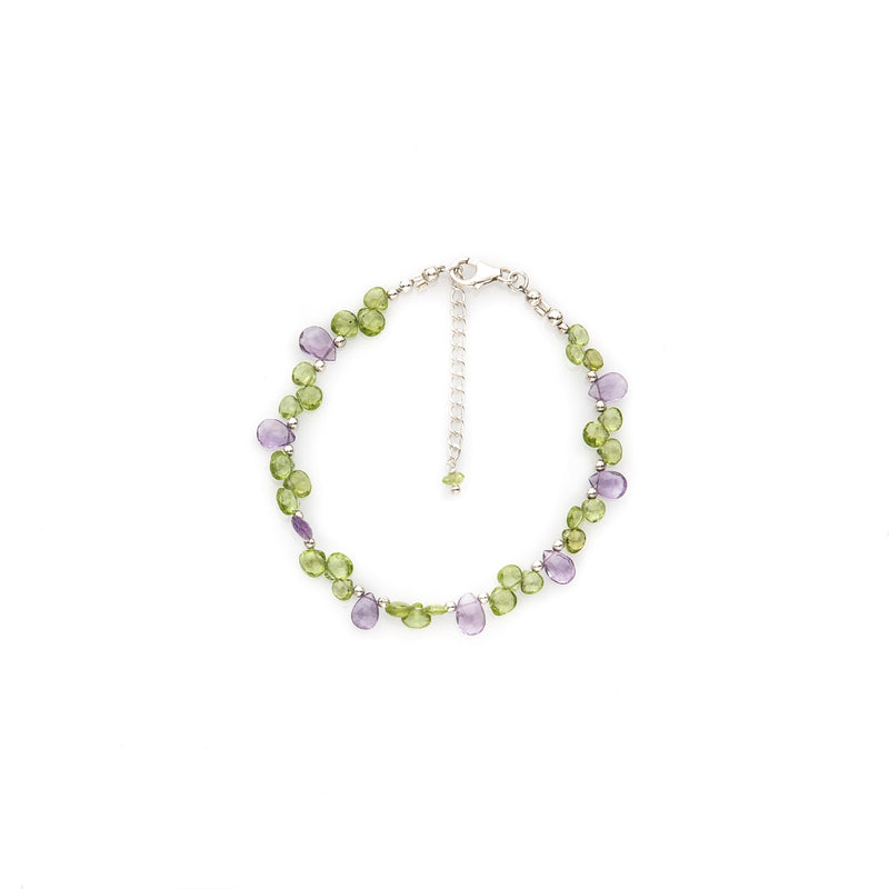 Peridot & Amethyst Faceted Gemstone Bracelet
