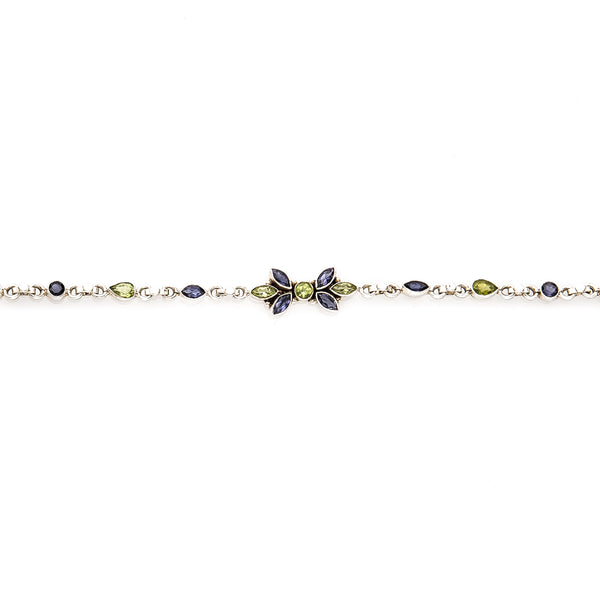 Iolite and Peridot Sterling Silver Bracelet