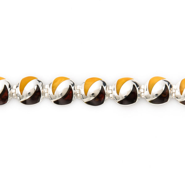 Dark Brown and Lemon Amber Sterling Silver Bracelet