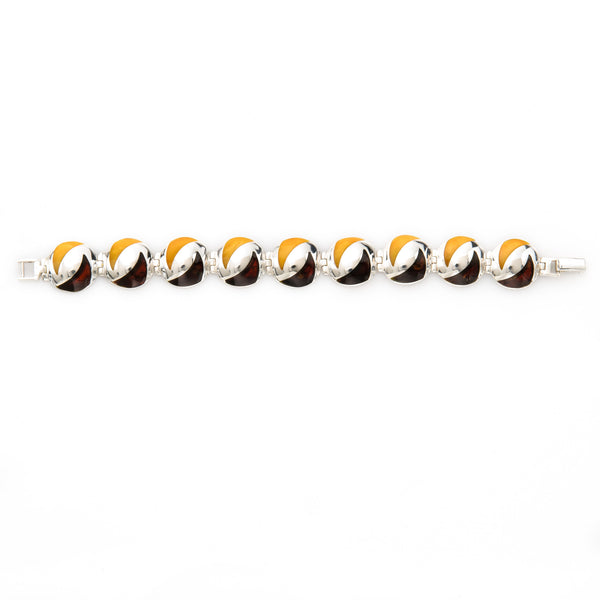 Lemon and Dark Brown Amber Sterling Silver Bracelet