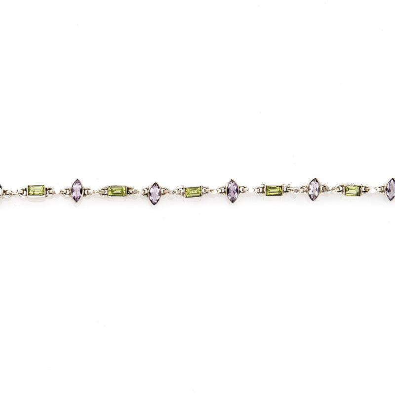 Peridot and Iolite Sterling Bracelet