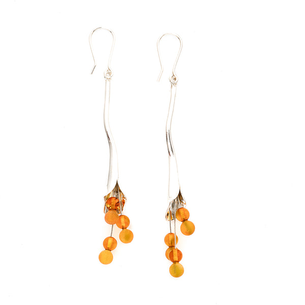 Honey Amber Sterling Silver Calla Lily Earrings