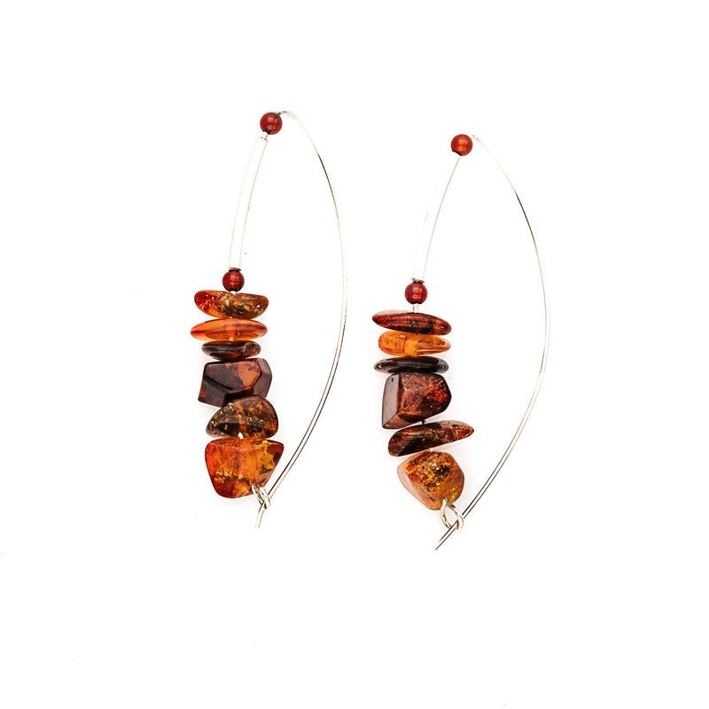 Multi color Stacked Amber & Sterling Silver Earrings