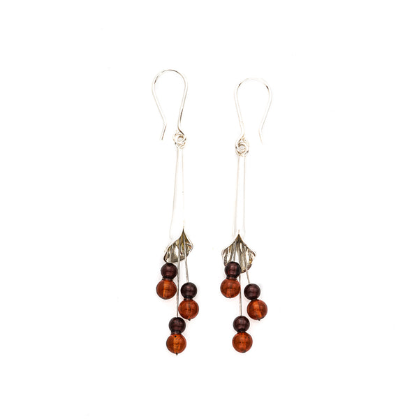 Honey & Cognac Amber Sterling Silver Earrings