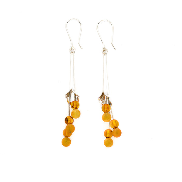 Butterscotch Amber Calla Lily Earrings