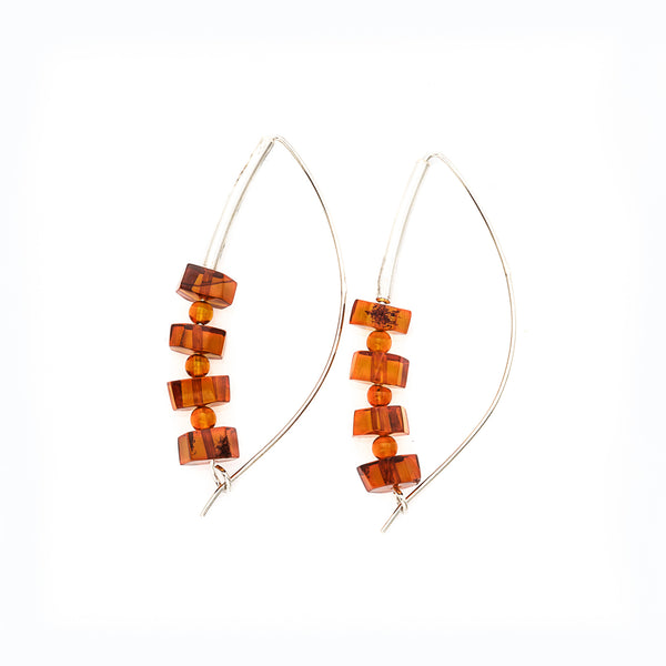 Stacked Honey Amber Sterling Silver Earrings