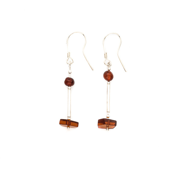 Amber Sterling Silver Dangle Earrings