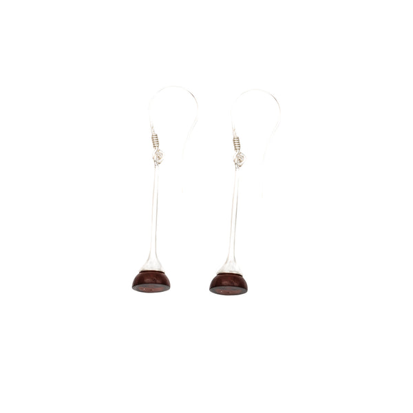 Cognac Amber Trumpet Dangle Earrings