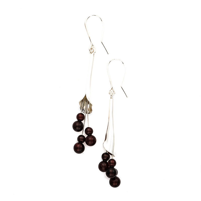 Cherry Amber Calla Lily Earrings
