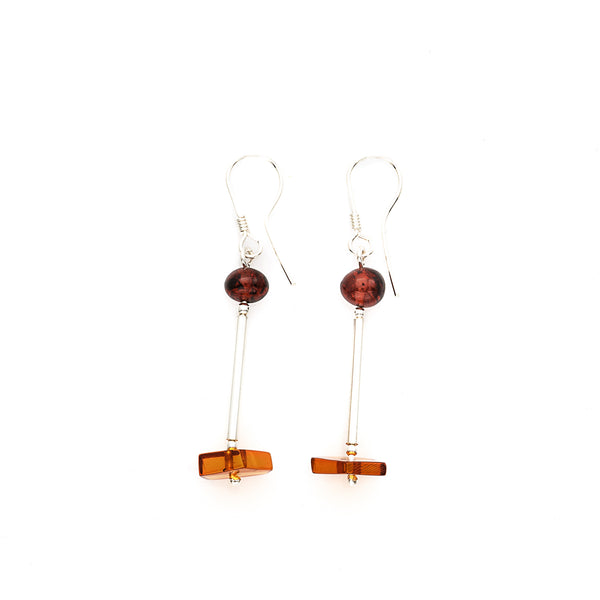 Baltic Amber Dangle Earrings - Sterling Silver