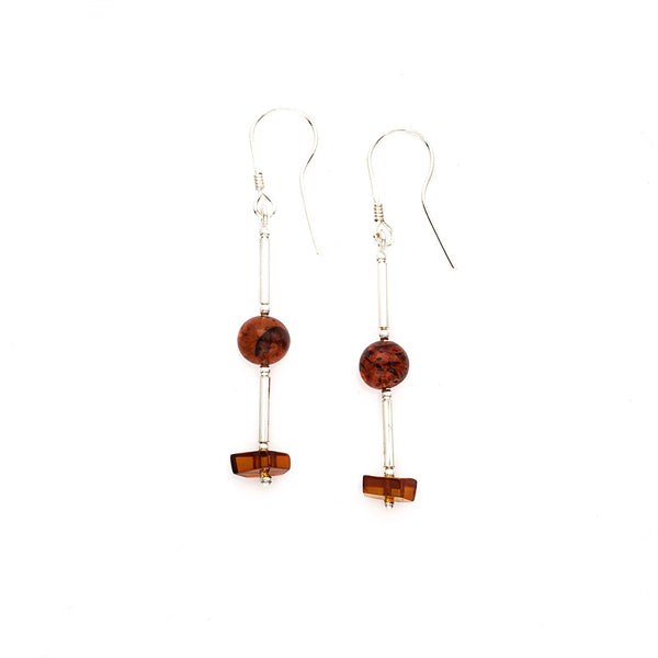 Cognac Amber Sterling Silver Earrings