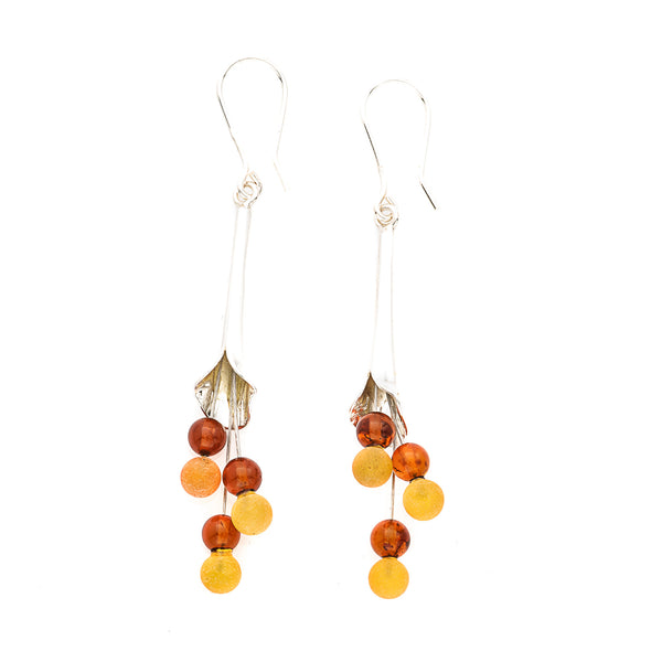 Honey & Butterscotch Amber Sterling Silver Calla Lily Earrings