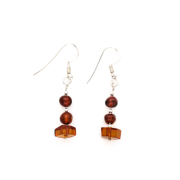 Cognac & Honey Amber Dangle Earrings