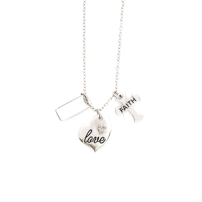 Love - Faith Charm Sterling Silver Necklace