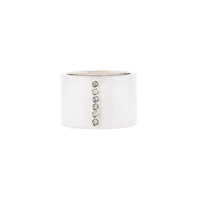 Wide Sterling Silver Ring with Diamonds